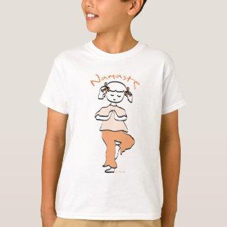 女の子のナマステのヨガのTシャツ Tシャツ