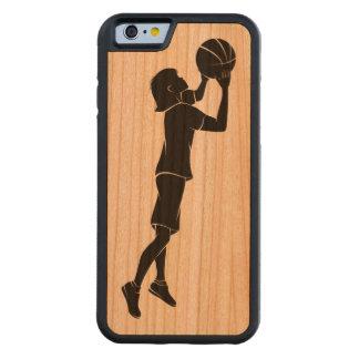 女の子のバスケットボール選手の射撃、発砲 CarvedチェリーiPhone 6バンパーケース