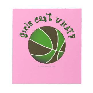 女の子のバスケットボール-黒か緑 ノートパッド