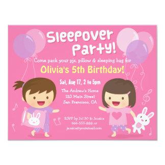 女の子のバニーのSleepoverの眠りの誕生会 カード