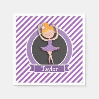 女の子のバレエダンサー; バレリーナ; 紫色及び白 スタンダードカクテルナプキン