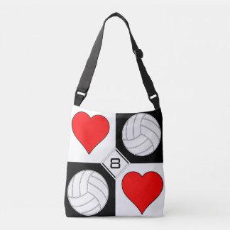 女の子のバレーボールのハートのかわいくカスタムな交差体のバッグ クロスボディトートバッグ