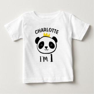 女の子のパンダくまのプリンセスの第1誕生日のTシャツ ベビーTシャツ
