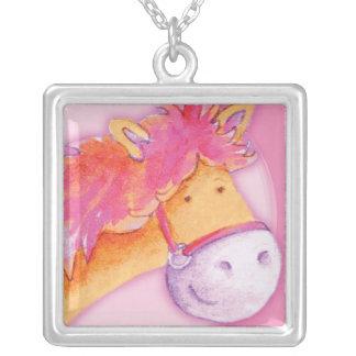 女の子のピンクのオレンジかわいい子馬の芸術のネックレス シルバープレートネックレス