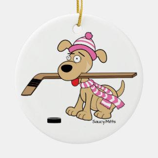 女の子のピンクのホッケーの漫画のホッケー犬のクリスマス セラミックオーナメント