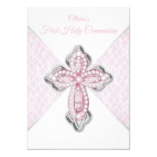 女の子のピンクのレースの十字の最初聖餐の招待状 カード