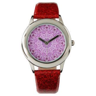 女の子のピンクの日時計 腕時計