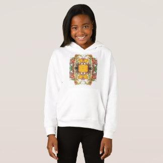 女の子のフリースのプルオーバーのフード付きスウェットシャツ