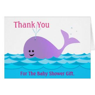 女の子のベビーシャワーのサンキューカードのクジラ カード