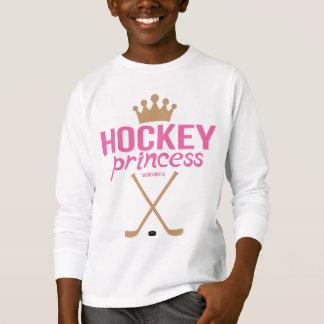 女の子のホッケーのプリンセスのピンクのアイスホッケー用スティック Tシャツ