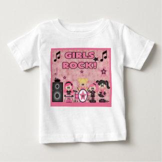 女の子のロック・バンド音楽ピンクのワイシャツの黒 ベビーTシャツ