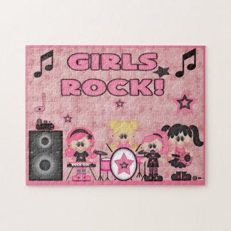 女の子のロック・バンド音楽ピンクの黒 ジグソーパズル