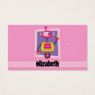 女の子のロボット; ピンク及び白のストライプ 名刺