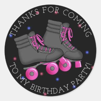 女の子のローラースケートの誕生日は感謝していしています ラウンドシール