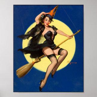 女の子の上のハロウィンの魔法使いPin ポスター