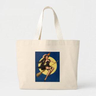 女の子の上のハロウィンの魔法使いPin ラージトートバッグ