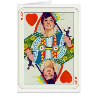 女の子の上のハートのエヴァリンNesbit Pinのヴィンテージの女王 カード