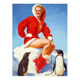 女の子の上のペンギン愛Pin ポストカード