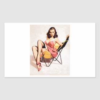 女の子の上のヴィンテージの椅子Pin 長方形シール