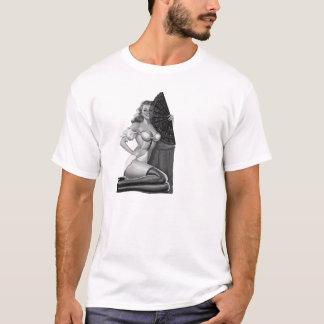 女の子の上のT_Shirtsの白黒Pin (21) Tシャツ