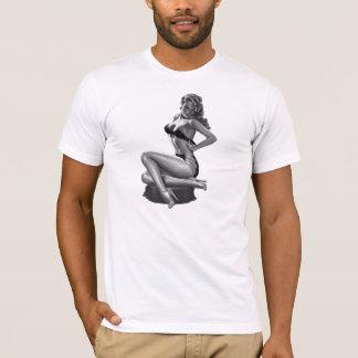 女の子の上のT_Shirtsの白黒Pin (2) Tシャツ