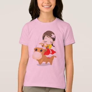女の子の乗馬牛 Tシャツ