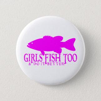 女の子の低音の魚釣り 缶バッジ