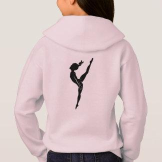 女の子の体操のピンクのフード付きスウェットシャツ