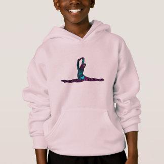女の子の体操の名前入りなタイポグラフィのフード付きスウェットシャツ