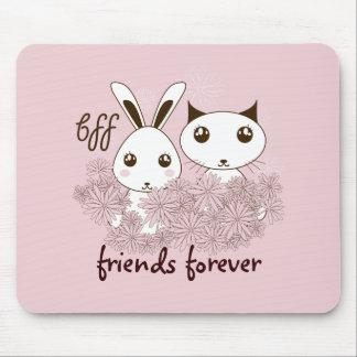 女の子の友情のかわいい動物の名前入りなピンク マウスパッド