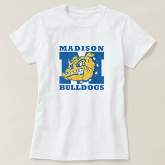 女の子の基本的な白いブルドッグのTシャツ Tシャツ