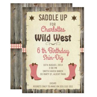 女の子の女性のカーボーイは野生の西の誕生日の招待状を追い出します カード