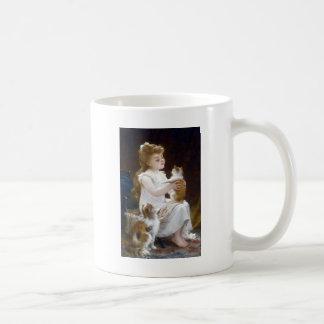 女の子の子供ペット猫の絵を描くこと コーヒーマグカップ