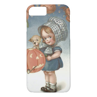 女の子の子犬のハロウィーンのカボチャのちょうちんのカボチャ iPhone 8/7ケース