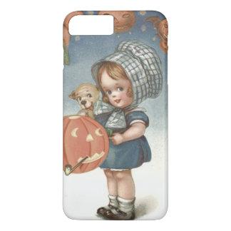 女の子の子犬のハロウィーンのカボチャのちょうちんのカボチャ iPhone 8 PLUS/7 PLUSケース