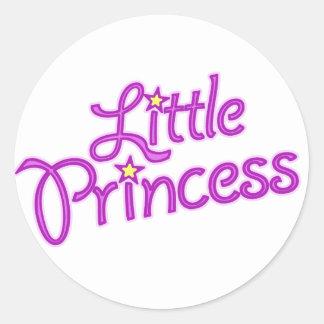 女の子の小さい王女の写実的な文字のステッカー ラウンドシール