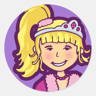 女の子の小さい王女の写実的な紫色のピンクのステッカー ラウンドシール