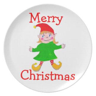 女の子の小妖精や小人のクリスマスのプレート プレート