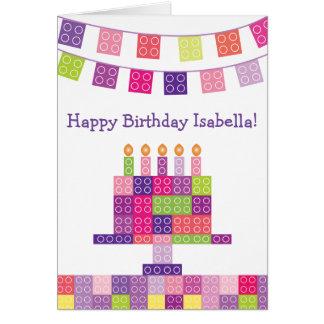 女の子の建物の煉瓦ブロックの誕生日 カード