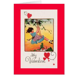 女の子の振動バレンタイン カード