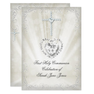 女の子の最初聖餐式白いベージュ天国のように2 カード
