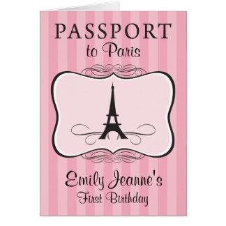 女の子の最初誕生日のパリのパスポートの招待状 カード