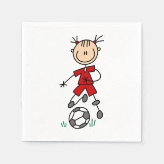 女の子の棒の姿のサッカーの赤い均一紙ナプキン スタンダードカクテルナプキン