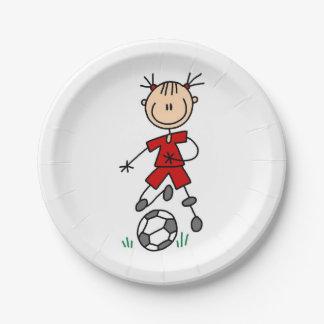 女の子の棒の姿のサッカーの赤い均一紙皿 ペーパープレート