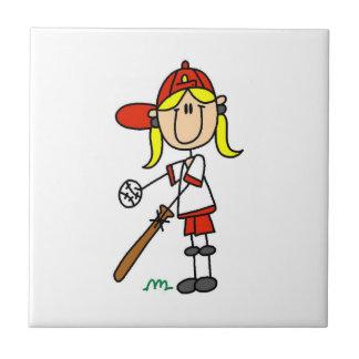 女の子の棒の姿の野球こうもりで タイル