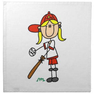女の子の棒の姿の野球こうもりの布のナプキンで ナプキンクロス