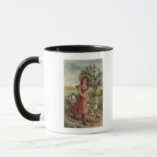 女の子の歩くの子ヒツジ、ひよこおよびオンドリ マグカップ