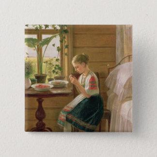 女の子の皮の果実1880年 5.1CM 正方形バッジ