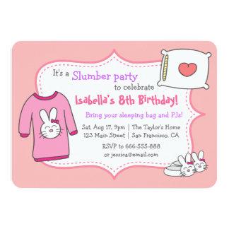 女の子の眠りの誕生会、Sleepoverのパジャマ カード
