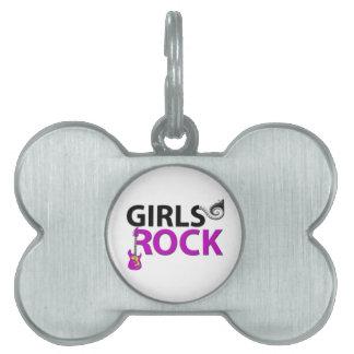 女の子の石のギターのピアノ鍵及び音楽 ペットネームタグ